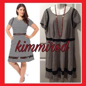 Dresses & Skirts - Mesh Insert Fit & Flare Striped Dress ~ 2X ~ EUC